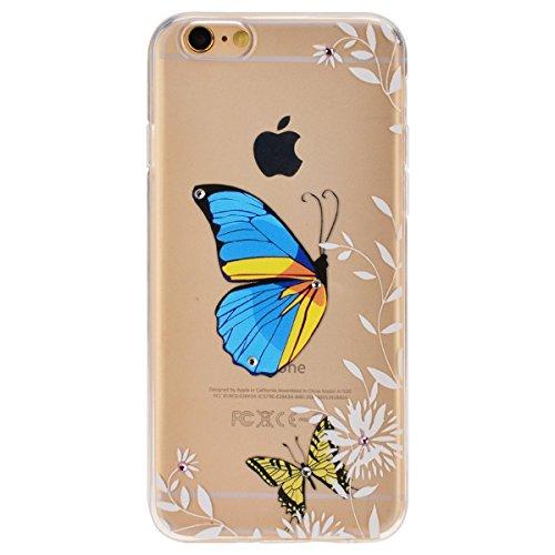 iPhone 6S Plus Hülle,iPhone 6 plus Hülle,SMART LEGEND iPhone 6 6S Plus 5.5 Zoll Weich TPU Silikon Case Schutzhülle Crystal Case Durchsichtig, Luxus Glitzer Glanz Kristall Crystal Transparent Silikon S Blau Schmetterling