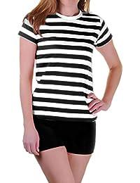 267482747438 Islander Fashions Womens T Shirt a Righe Bianche e Nere Fancy Dress  Girocollo Maniche Corte Top