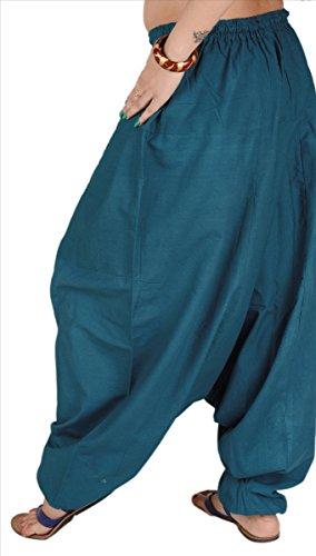 Röcke & Schals Damen 100% Baumwolle Harem/Yoga/Aladdin/Hose/Pyjama Teel Blue