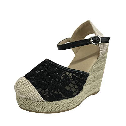 Minetom Donna Espadrillas Chic Sandali con Zeppa Eleganti Pizzo Scarpe con Plateau Tacco Alto Fibbia Cinturino alla Caviglia Piattaforma Sandals Nero 37 EU