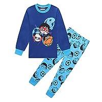 Thombase Kids Boys Long Sleeve Christmas Xmas Pyjamas Blue Red Pjs 3-8 Years