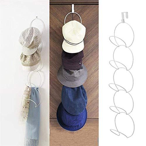 Xemz Tür- und Wandmontage, Hutständer, Türaufhängung, Hüte, Kleidung, Taschen, Kappen, Schals, Kappen, Bänder, Gürtelhaken, Präsentationshalter, Organizer weiß -