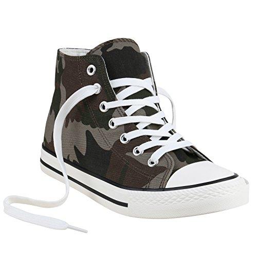 Freizeit Damen Sneakers High Canvas Schuh Camouflage Braun Weiss