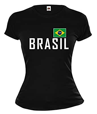 Girlie T-Shirt Brasilien-XS-Black-