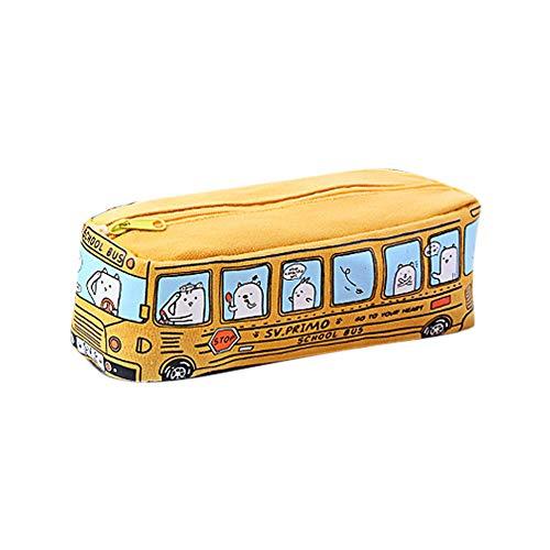 DOXMAL Mäppchen Mädchen Beuteltasche Federtasche Mädchen Bleistift Briefpapier Taschen Kosmetiktasche,Cute Bear Schulbus Outlook (Gelb)
