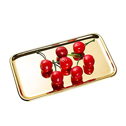 IMEEA® Small Rectangle Serving Tray Towel Tray for Bathroom Vanity Organizer Makeup & Beauty Products SUS304 Stainless Steel, 8 x 5.4 inch