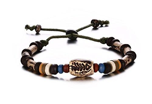 Vnox Borda il braccialetto fascino gioielli di moda triplo strato Wrap Wristband Bianco ovale per la ragazza delle donne