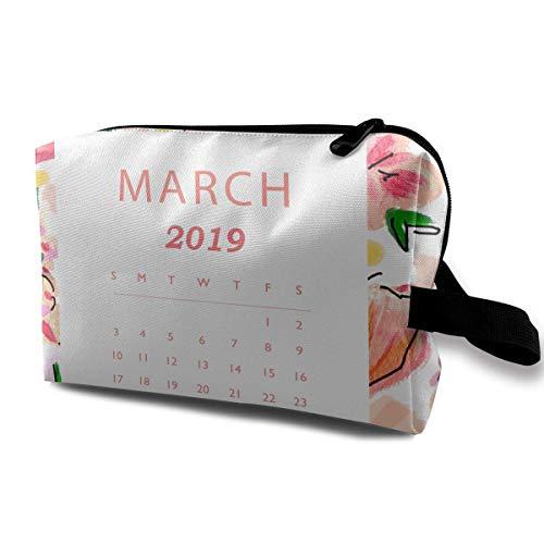 n-Blumen-Kalender Februar-Reise-tragbarer Make-upbeutel-Reißverschluss-Geldbörsen-Aufhängetasche ()