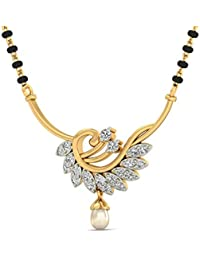 PC Jeweller The Aurora 18KT Yellow Gold, Diamond and Pearl Pendant for Women