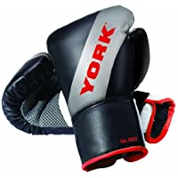 York Fitness Men 14oz, Sparring Gloves, Multicolored(Black/ Silver/ Red)