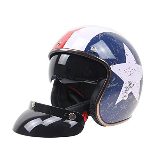 Jet Vintage Casco Moto,Cuero Lentes antivaho Windproof Sandproof Dot/ECE Certificado para Adultos Mujer y Hombre Retro Scooter Motocicleta Helmet Chopper Cruiser 56-62cm