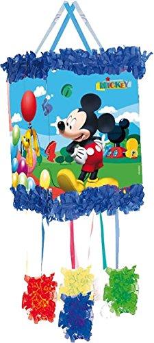E * - als Zugpinata für bis zu 7 Kinder - plus Maske. Wird mit Süssigkeiten oder Spielen gefüllt, ca. 28cm Durchmesser // Piñata Mexiko Kinder Geburtstag Kindergeburtstag Spiele Spass Micky Maus Disney (Mickey Maus Maske)