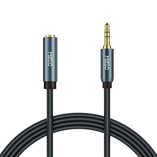 MillSO Audio Verlängerung 1m Kopfhörer Verlängerungskabel - 3,5mm Klinken Buchse zu 3,5mm Klinken Stecker für Auto, Lautsprecher, PC, Tablet, Smartphone und MP3 Player