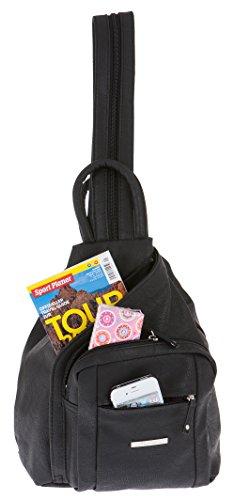 ALESSANDRO Femme Bag Handtasche Rucksack Damentasche + Schlüßelmäppchen (TIRANO Black 6) - 6