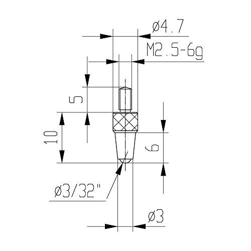 Messeinsatz für Messuhr Ø 3,0 mm Typ: 112 Stahl rostfrei 573/21 kugglig, für Tiefenmessgeräte, Gewicht: 0.01