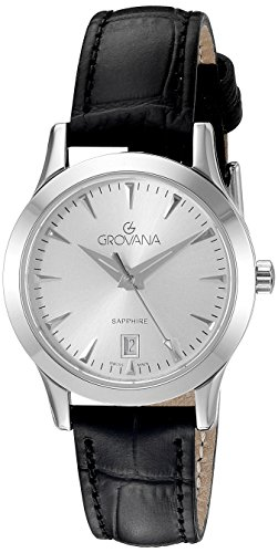 GROVANA 3201.1532 Women's Quartz Swiss Watch with Silver Dial Analogue Display and Black Leather Strap