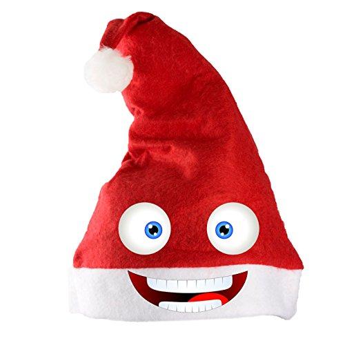 Adventino Superweiche Weihnachtsmütze - große Schick oder Lustig-Auswahl, rot mit lustigem Crazy-Face-Aufdruck