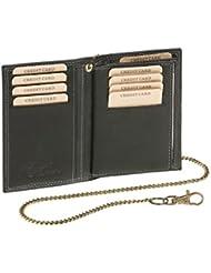 Biker portefeuille porte-cartes pour pièce d'identité et porte-cartes avec la chaîne LEAS MCL, cuir véritable, noir - ''LEAS Chain-Series''
