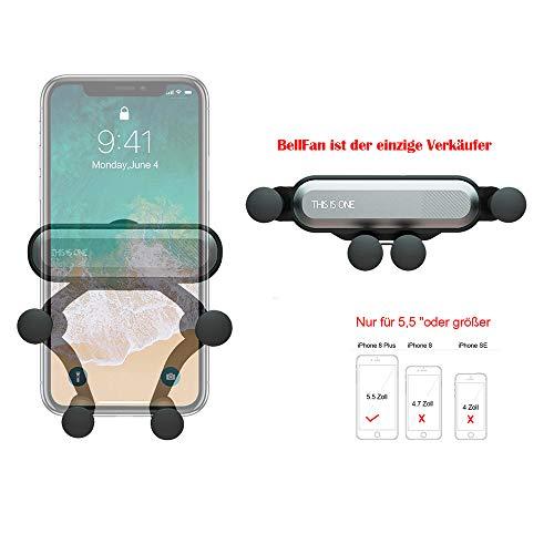 """BellFan Handyhalterung für Auto, Schwerkraft Auto Handyhalterung Air Vent Universal-Kfz-Handyhalter kompatibel füriPhone XS MAX/XS/XR, Galaxy S10/S10+(Für 5,5""""oder größere Telefone) (Silber)"""
