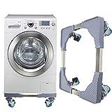 KING DO WAY Waschmaschine Sockel Bewegliche Unterseite, Edelstahl-Stand-Rollen-Klammern für Waschmaschine, Gefriermaschine, Basis-Behälter-Stände