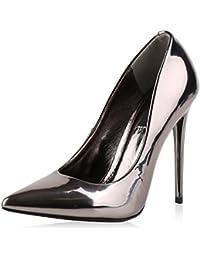 Spitze Damen Pumps High Heels Lack Stilettos Schuhe Metallic Party Schuhe Abschlussball Hochzeit
