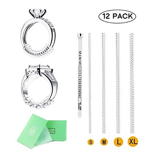 Anello di regolazione per anello per anelli larghi, 4 dimensioni con panno per lucidatura argento e calibro per dito libero con anello, set di 12