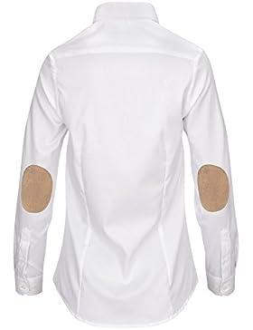 ALLBOW Elegantes Blusas Blancas con Coderas Mujer, Camisa de Trabajo de Manga Larga
