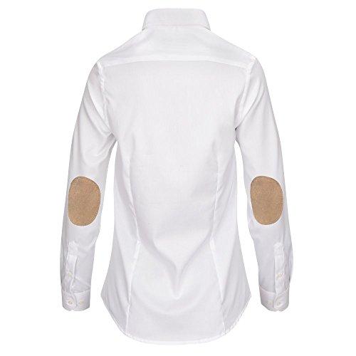 L. Bo Apparel, Neat: Camicetta Bianca con Toppe ai Gomiti, Elegante Camicia da Donna con Patch bianco beige