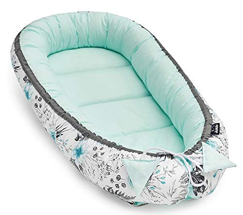 Solvera_Ltd Babynest 2seitig Kokon öko Babybett Nestchen für Neugeborene 100% Baumwolle Kuschelnest Weiches und sicheres Baby-Reisebett (50x90) (In Garden Mint) -