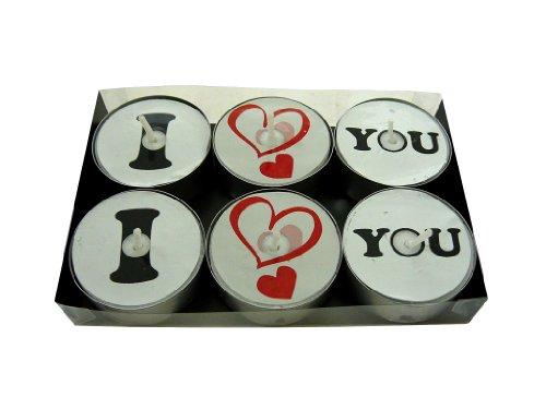 """6er Pack Motiv Teelichter """" I Love You """" Motiv bleibt beim Abbrand sichtbar, Design Lichter, Motivkerzen"""