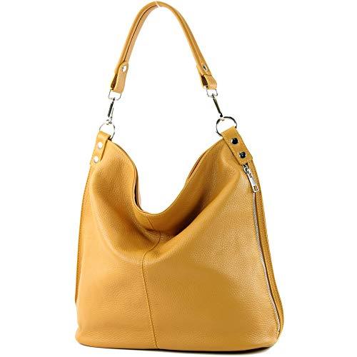 modamoda de - T177 - ital. Damen Schultertasche aus Leder, Farbe:Senfgelb - Gelbe Flache Geldbörse