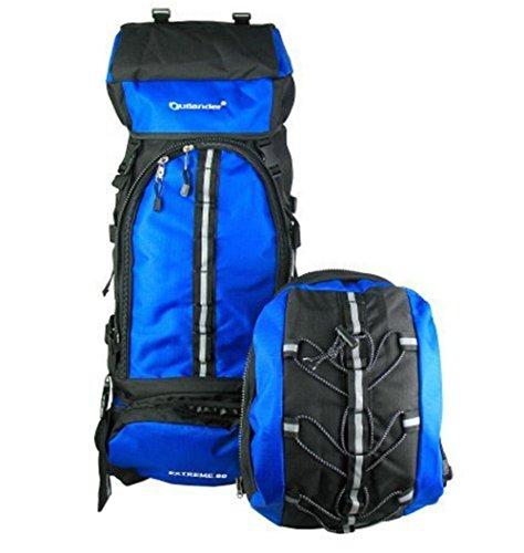 YAAGLE 80L Outdoor Trekkingrucksack Reiserucksack Rucksack mit entfernbare kleine Tasche 70L+10L Camping / Wandern Rücksack 38*20*73 CM knallblau