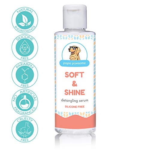 Papa Pawsome Soft & Shine Detangling Fur Serum for Dogs, Silicone Free, with Argan Oil and Jojobal Oil - 50 ml