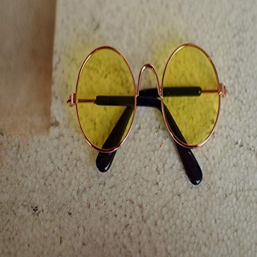 Jinghai 5 stücke Pet Gläser Multicolor Hund Katze Kreativen Trend Spielzeug Sonnenbrille Puppet Spielzeug Personalisierte Dekoration Haushalt Heimtextilien-Bright gelb