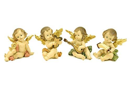 4 Figuras Decorativas Religiosas' Ángeles Sentados'. 8 x 7 x 8 cm.