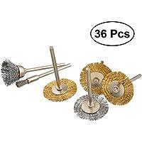 UKCOCO 36pcs cepillo de rueda de alambre T tipo taza rueda de acero pulido herramienta rotativa