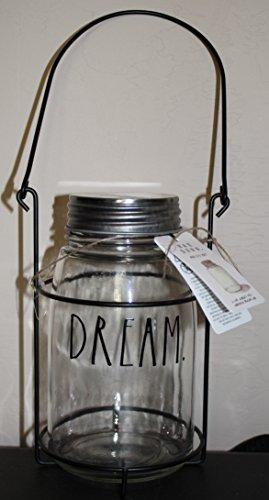 Rae Dunn von Magenta Dream in Großen Buchstaben Glas Klar Mason Glas Teelicht Kerzenhalter mit Tragetasche Rack und Griff. (Mason Großen Gläser Mit Griffen)