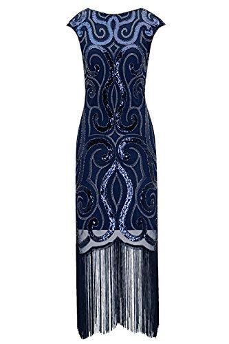 Metme Damen Vintage inspirierte 1920 V Hals Pailletten Art Deco Flapper Kleid Midi Kleid für Prom (Vintage Niedlichen Kleid)