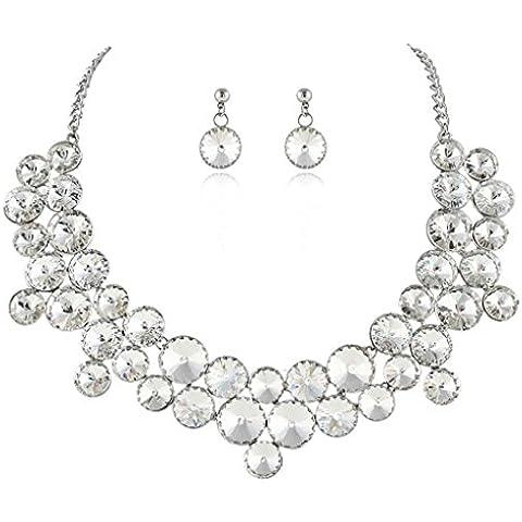EVER FAITH® silver-tone di cristallo austriaca rotonda nuziali della collana Cluster orecchini set