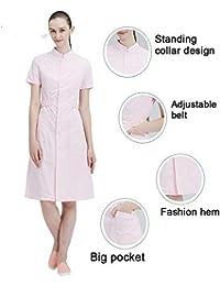 04c3d30f4d6 ESENHUANG Short Sleeve Round Neck Women Medical Coat Uniform Medical Lab  Coat Hospital Doctor Slim Multiple