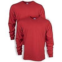 Gildan Men's Ultra Cotton Adult Long Sleeve T-Shirt, 2-Pack, Red, 2X-Large