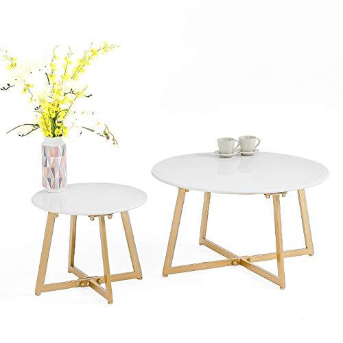 Tische MEIDUO Runder Couchtisch mit X-Base für Wohnzimmer Sofa Side Schlafzimmer Restaurant Freizeit Teetisch Computertisch (Farbe : Weiß, größe : S+L) - Restaurants Terrasse Tisch