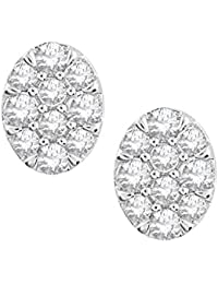 Pave Prive 9ct White Gold with White Diamonds Oval Stud Earrings