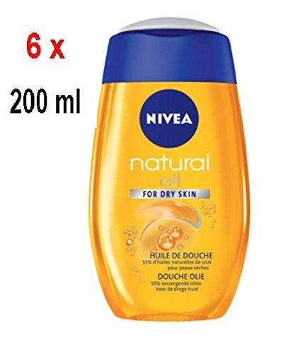 6 x NIVEA Natural Oil Duschöl - für trockene Haut - 200 ml