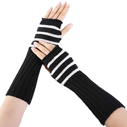 Damen Mädchen Winter Armstulpen Armwärmer Gestrickte Fingerlose Handschuhe Pulswärmer Handstulpen Stulpen Streifen Muffs Armlinge