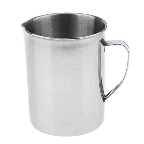 MagiDeal 1 Stück messbecher aus Edelstahl Küchen Labor Wasser Flüssigkeit Messung Tasse Becher 2000ml -Silber