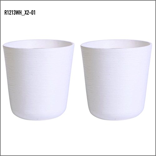BELLO Plastic Flower Pot, White (2 Qty)