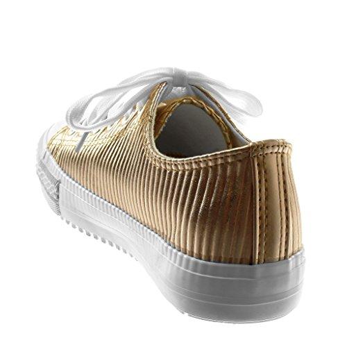 Angkorly Scarpe Moda Sneaker Tennis Donna Trapuntata Lines Tacco Tacco Piatto 1.5 cm Champagne