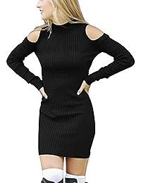 Turtleneck Kleid mit Schulter-Öffnungen