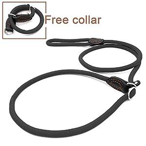PoppypePoppypet Laisse Rond en Nylon pour Chien Lasso ajustable avec collier pour Chien Rond en nylon corde de traction de chien Noir